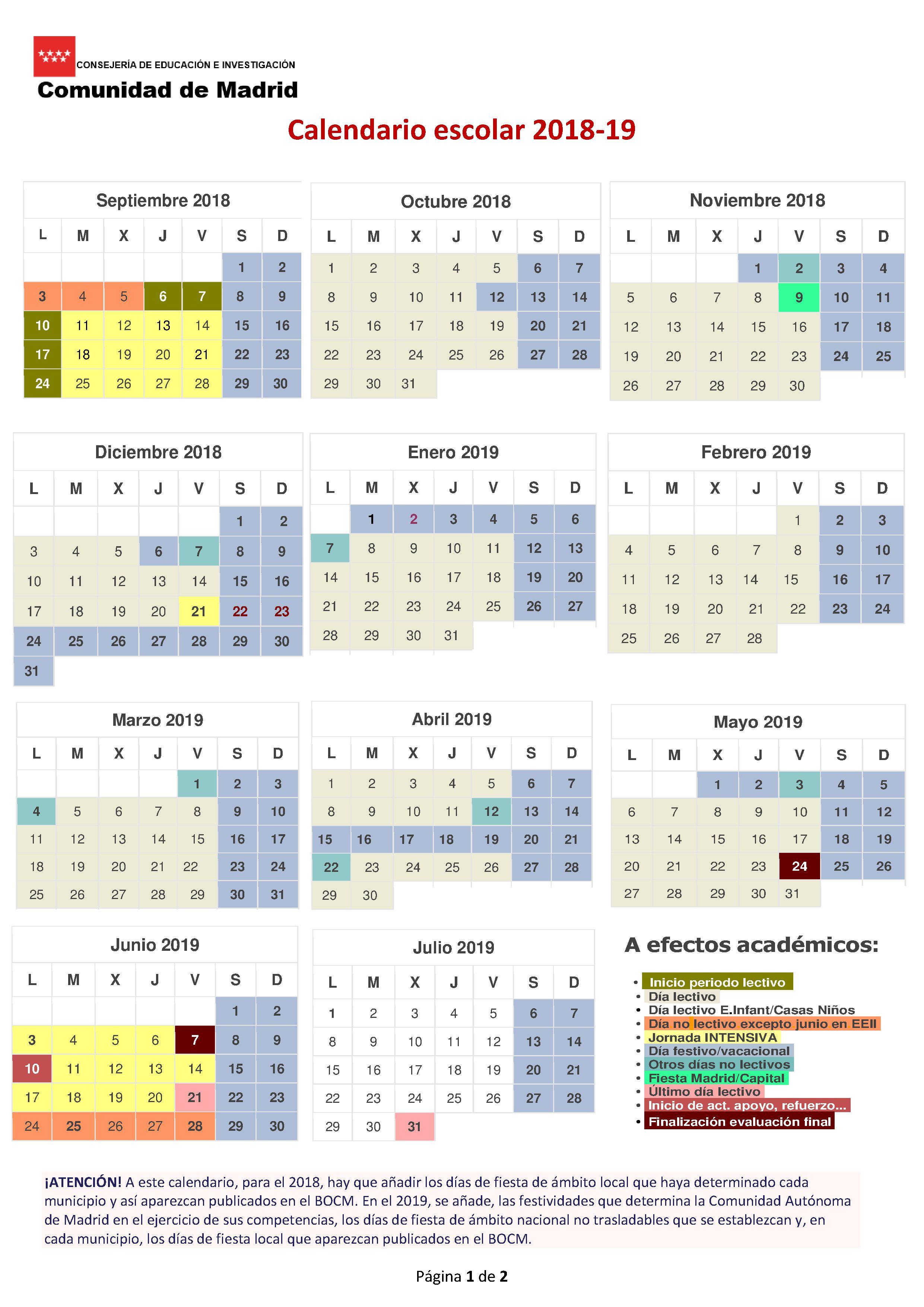 Calendario escolar oficial for Calendario eventos madrid