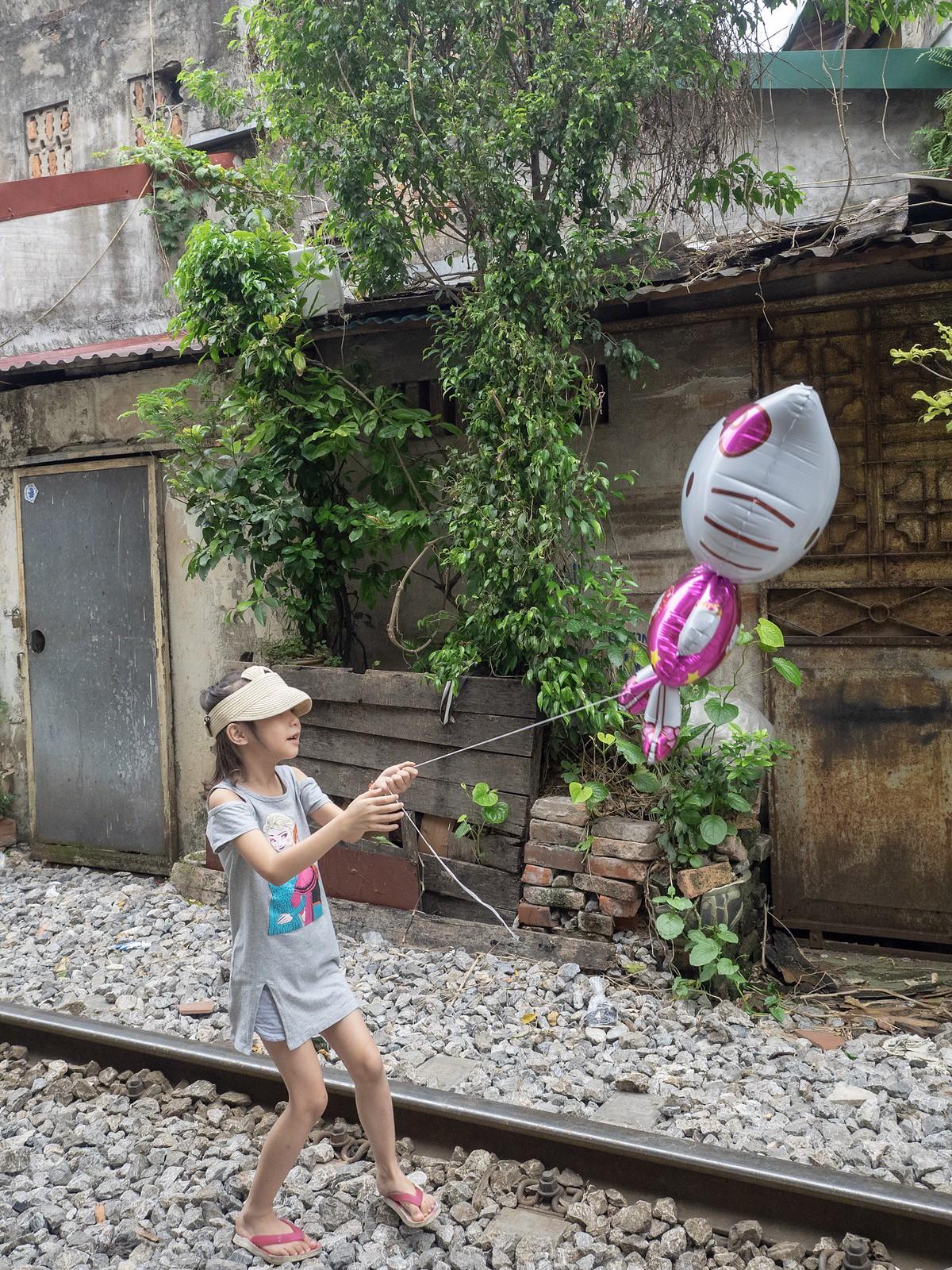 Hanoi railway in the city