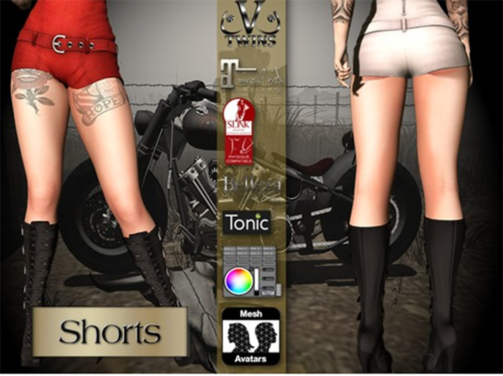 V-Twins Biker Clothes – Individual Items Mesh Shorts – Evasive Collection (Slink Belleza & Maitreya)