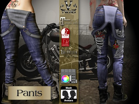 V-Twins Biker Clothes – Individual Items Mesh Pants/Jeans – Furious Blue Version (Slink, Belleza & Maitreya)
