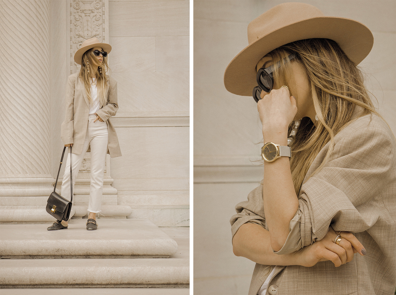 neutral_outfit_look_street_style_oversized_jacket_loafers_white_jeans_lack_of _color_celin_bag_pearl_earrings_lena_juice_the_white_ocean_08
