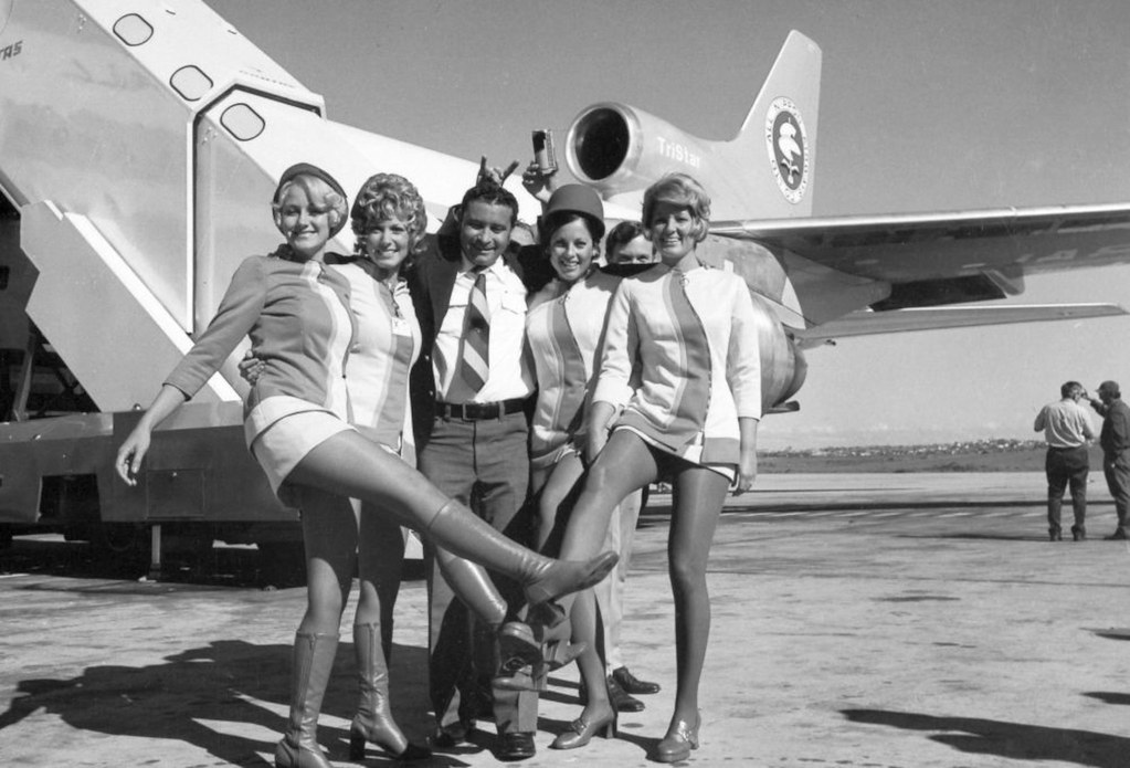 Pacific Southwest Airlines flight attendants, circa 1970s. (SDASM Archives)