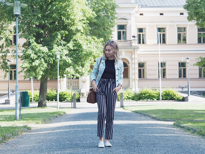 stripe pants denim jacket