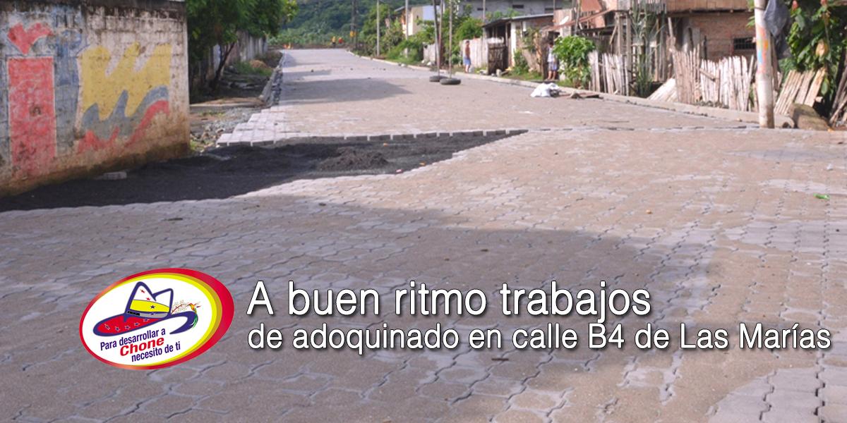 Calle B4 de Las Marías trabajos a buen ritmo del adoquinado