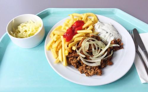 Pork gyros with fresh onions, tzatziki, french fries & cole slaw / Gyros vom Schwein mit frischen Zwiebeln, Tzatziki, Pommes Frites & Krautsalat