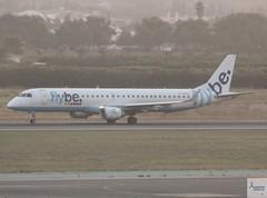 Flybe E195 G-FBEG taking off at AGP/LEMG