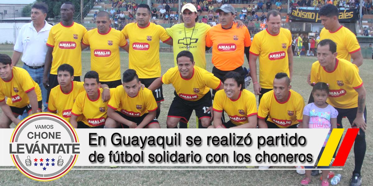 En Guayaquil se realizó partido de fútbol solidario con los choneros