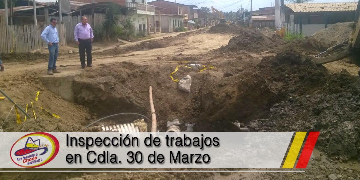 Inspección de trabajos en Cdla. 30 de Marzo