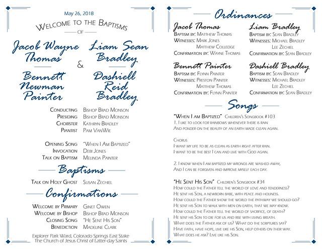 baptism program front and back