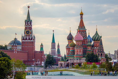 view of the Spasskaya tower of the Moscow Kremlin and St. Basil's Cathedral