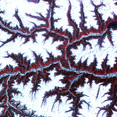 Snow-capped peaks and ridges of the eastern Himalaya Mountains. Original from NASA. Digitally enhanced by rawpixel.