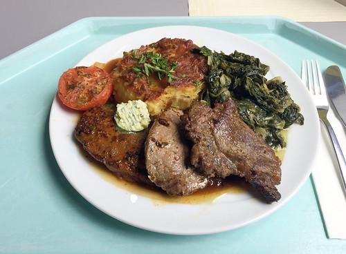 """""""The great australian bite"""" - Canguru, ostrich & beef steak with herb butter, leaf spinach & potato gratin / Känguru-, Strauß- & Rindersteak mit Kräuterbutter, Blattspinat & Kartoffelgratin"""