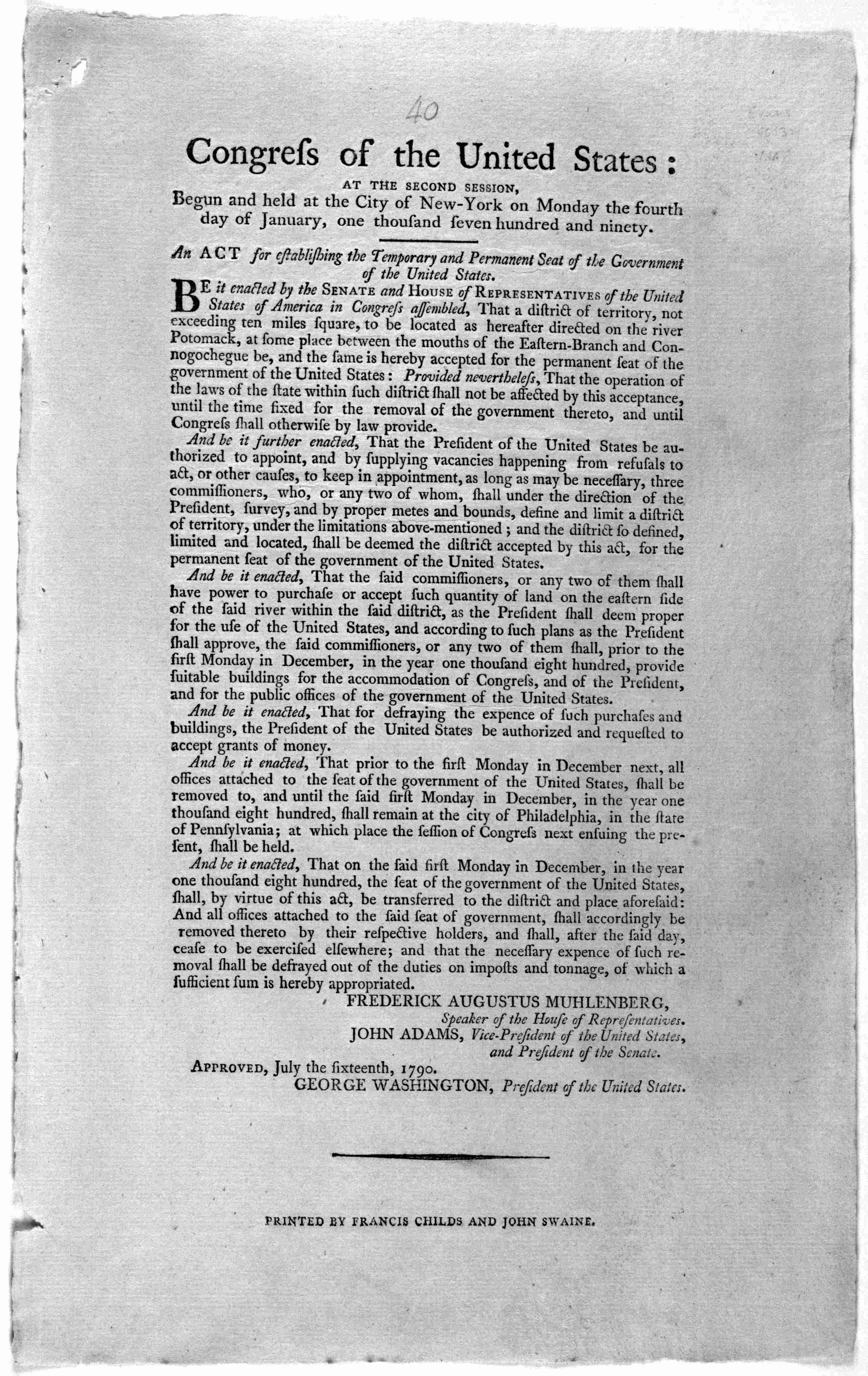 Text of the Residence Act of 1790, which established the location of the U.S. Capital along the Potomac River, along with provisions that the Federal government would assume states' debts incurred during the American Revolutionary War.