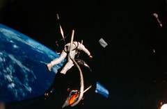 Astronaut Edwin E. Aldrin Jr., pilot of the Gemini-12 spaceflight, performs extravehicular activity. Original from NASA. Digitally enhanced by rawpixel.