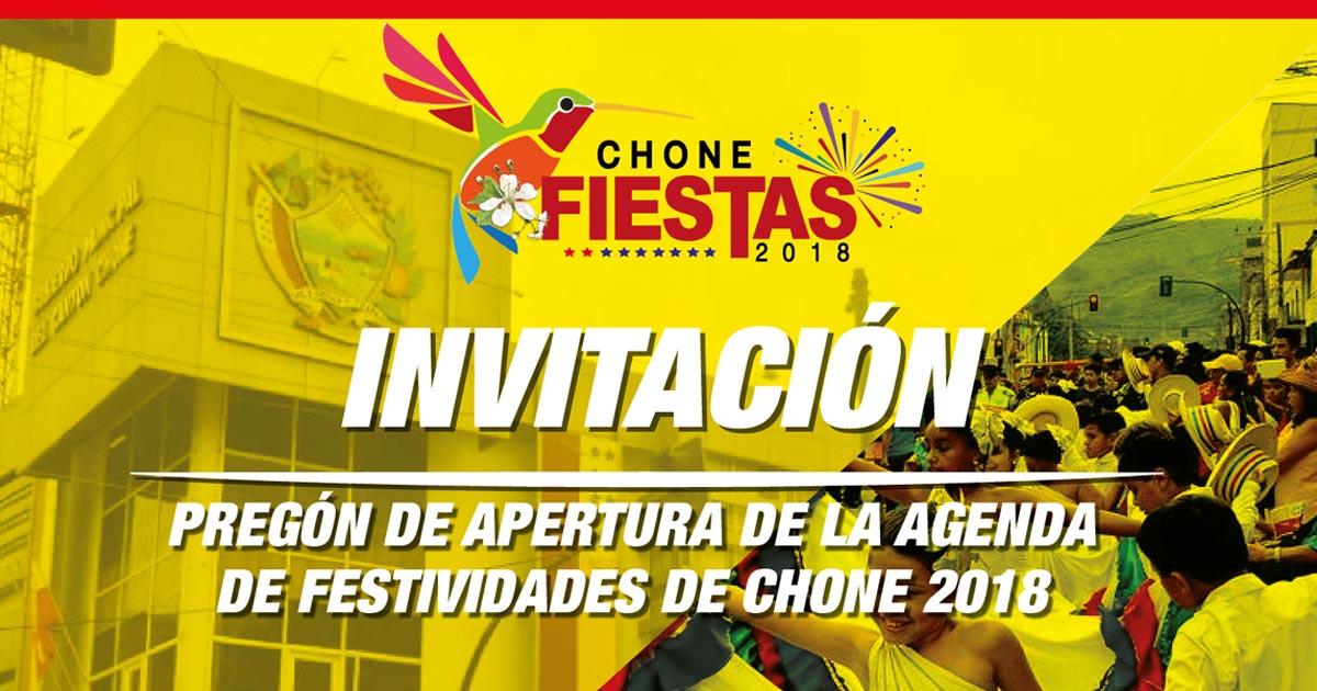 Pregón de Apertura de la Agenda de Festividades de Chone 2018