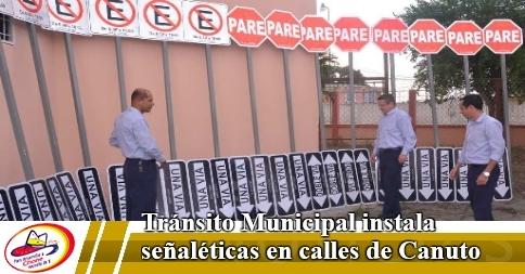 Tránsito Municipal instala señaléticas en calles de Canuto