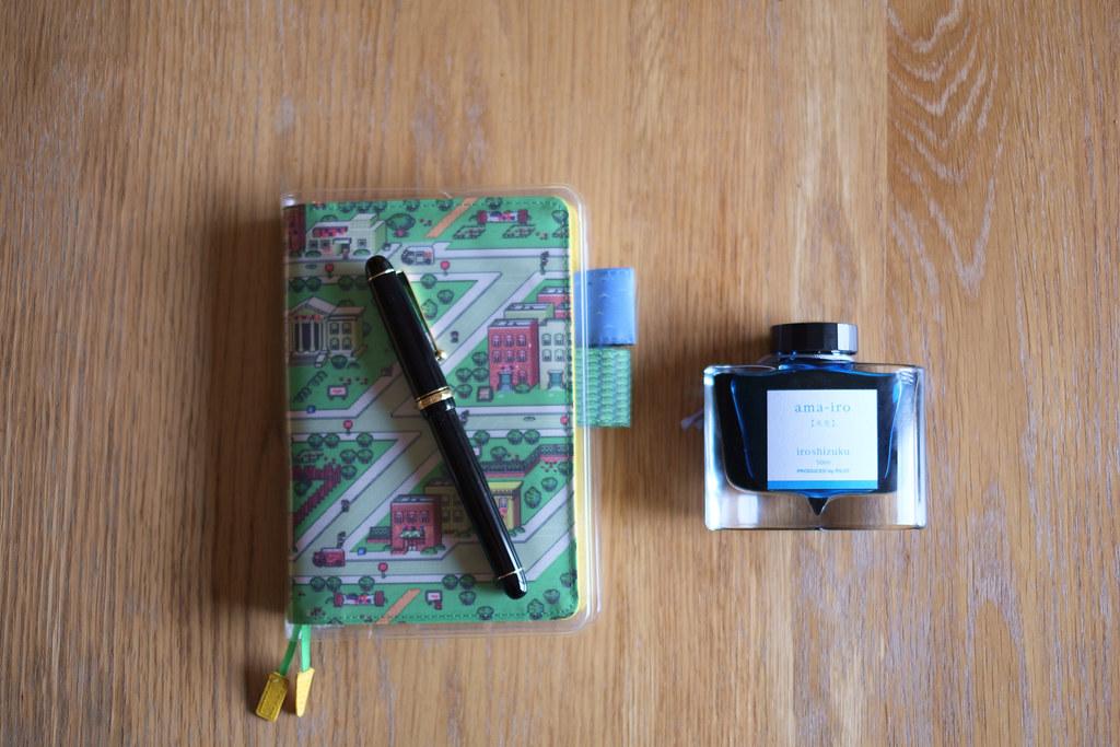 パイロット・カスタム74とほぼ日手帳と色彩雫天色 XE108006