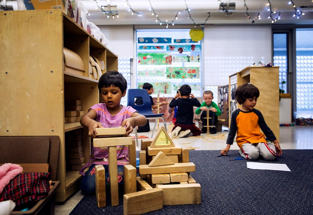 Students from Stephanie Hammond's kindergarten class during their learning activity time. CreditTara Walton for The New York Times