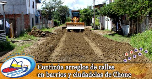 Continúa arreglos de calles en barrios y ciudadelas de Chone
