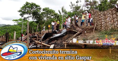 Cortocircuito termina con vivienda en sitio Gaspar