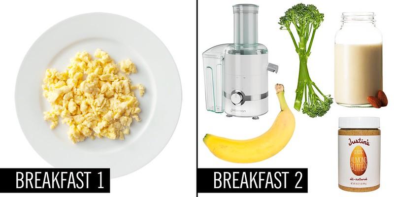 trứng chưng và smoothie rau củ