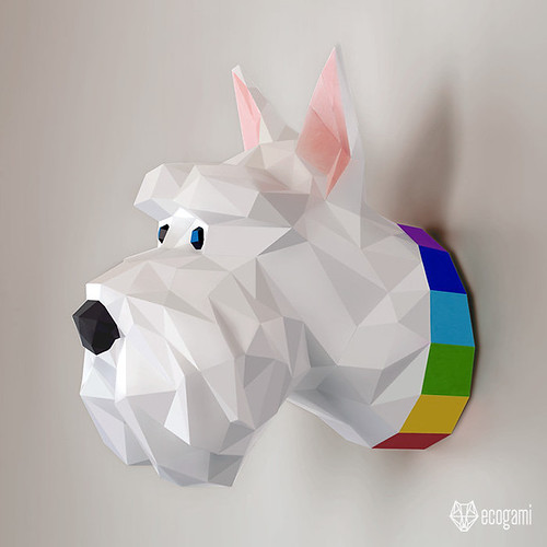 Ecogami Scottish Terrier Paper Trophy Model by Ecogami