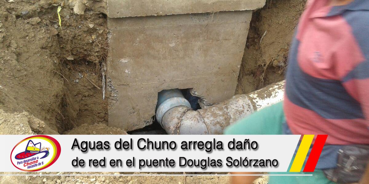 Aguas del Chuno arregla daño de red en el puente Douglas Solórzano