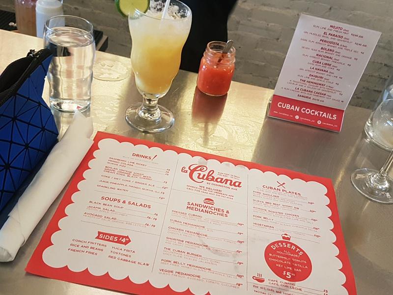 La Cubana menu