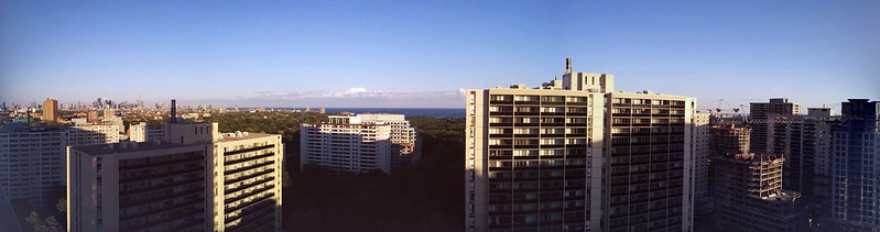 Skyline panorama #toronto #mississauga #skyline #highparknorth #lakeontario #sky #blue
