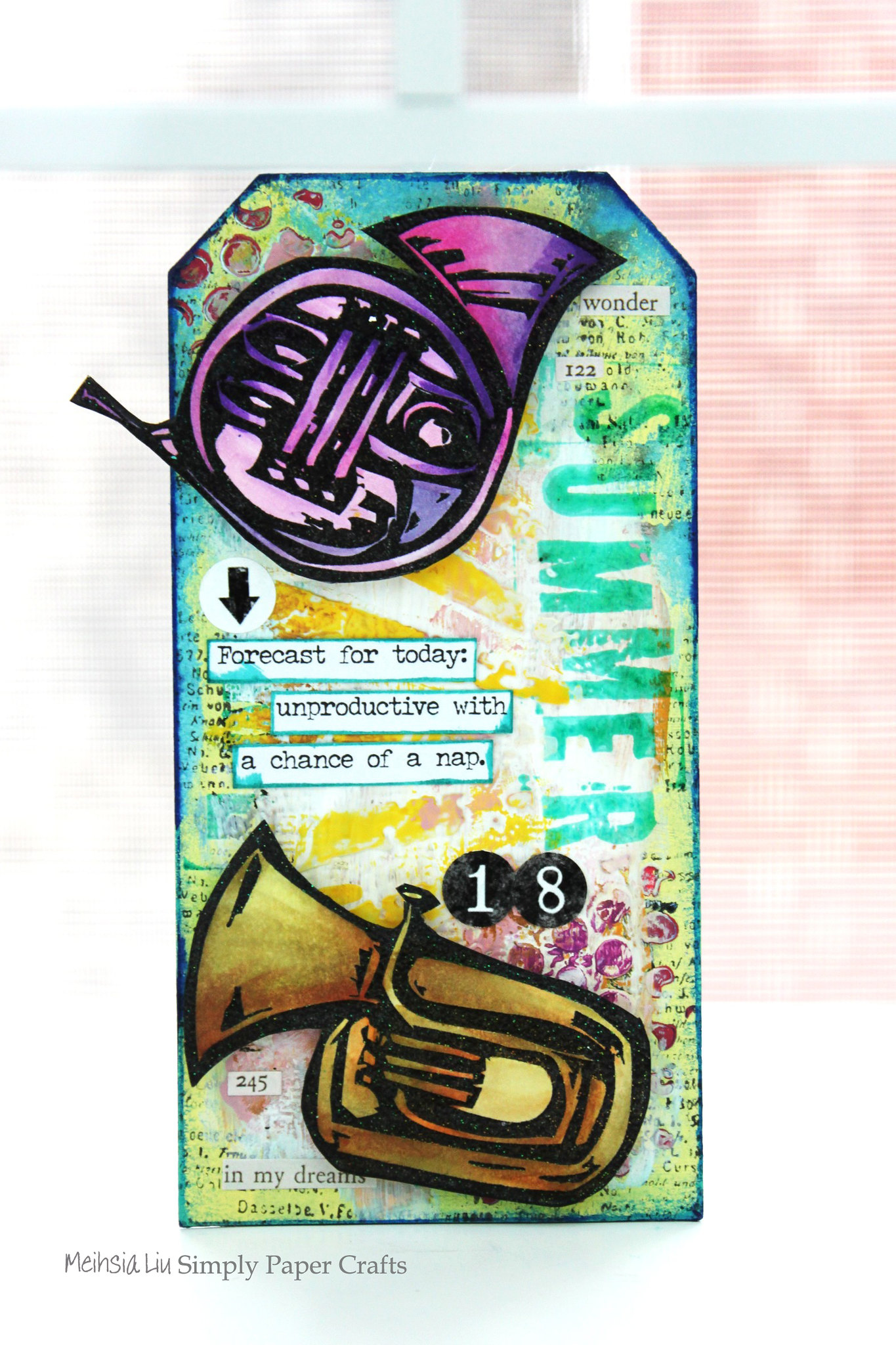 Meihsia Liu Simply Paper Crafts Mixed Media Tag Summer Fun Music Instrument Simon Says Stamp Tim Holtz
