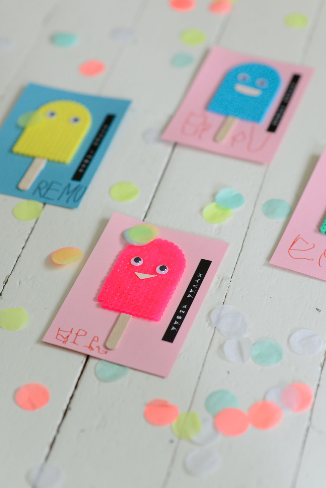 Colorful DIY Hama bead popsicle greeting cards