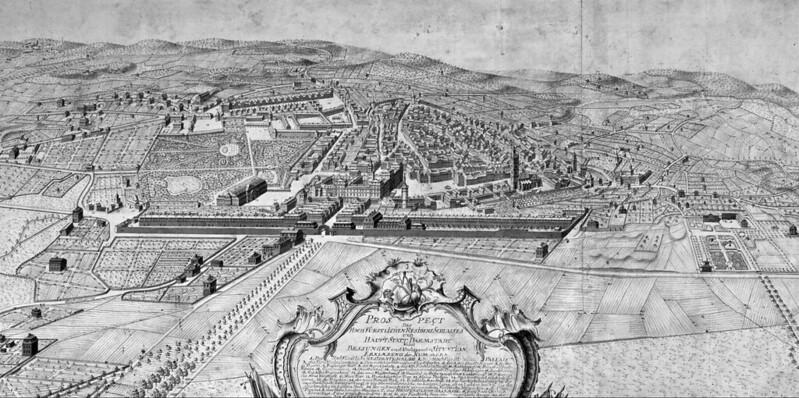 Prospect des Hochfürstlichen Residezsschlosses und Hauptstadt Darmstadt, aufgenommen und gezeichnet von J. Jacob Hill, Fürstl. Ingenieur Lieutenant, 1776