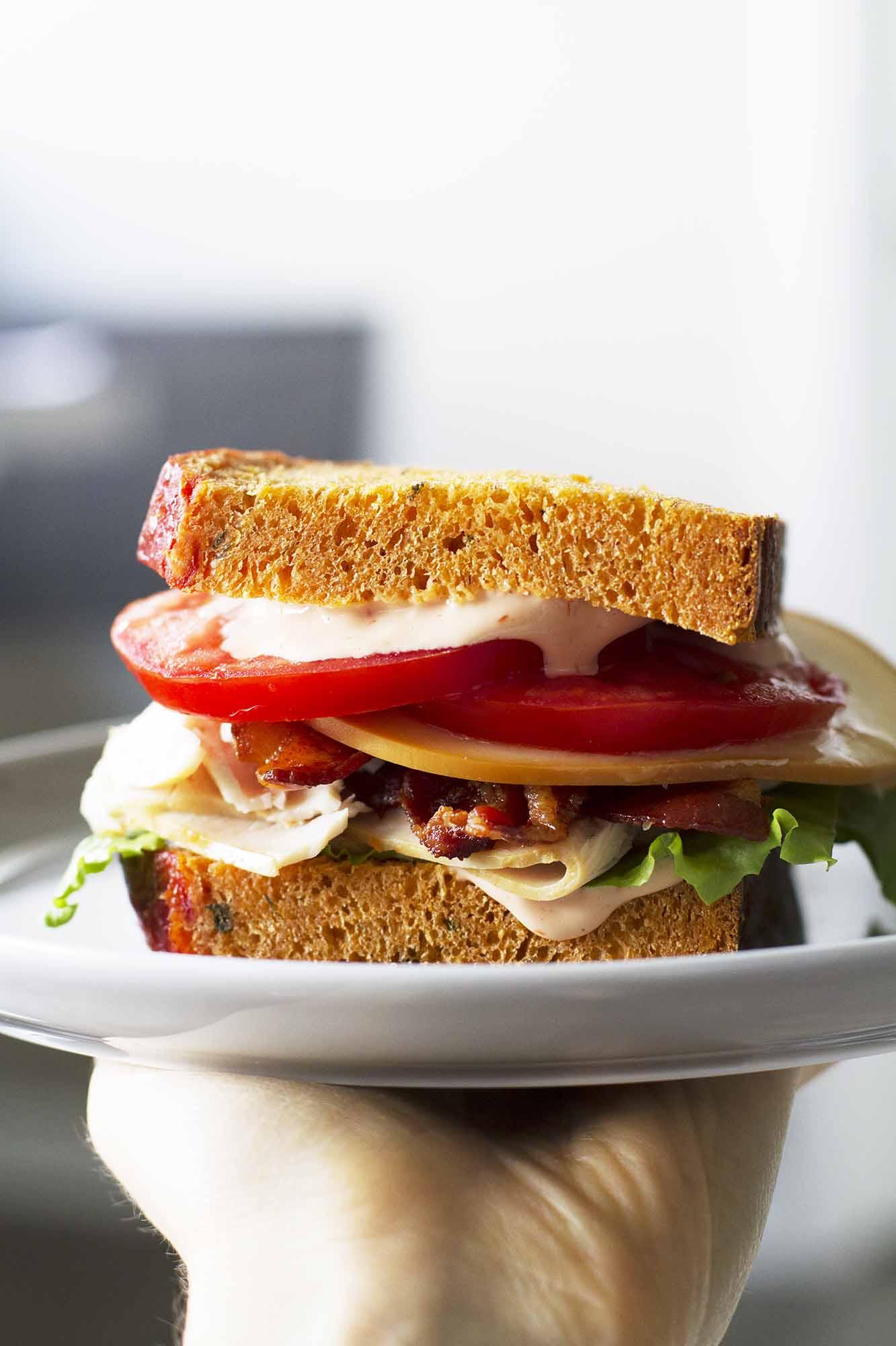 Homemade Turkey Bacon Bravo Sandwich | girlversusdough.com @girlversusdough