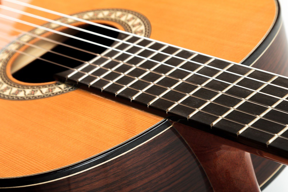 Dramatic closeup of classical guitar