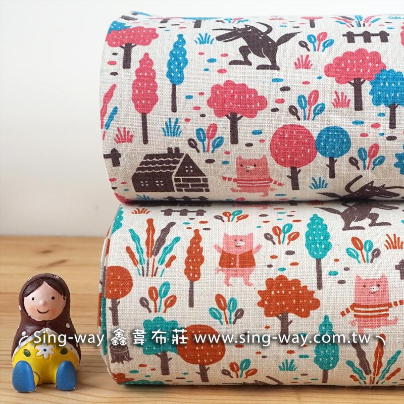 原-三隻小豬 卡通圖案 大野狼 小豬 可愛動物 童話故事 兒童背包 收納提袋 手工藝DIy拼布布料 CF590061