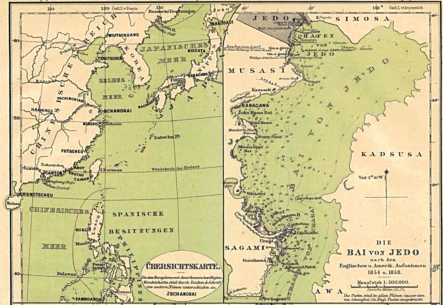 Maps of Japan and Edo Bay published in 1858