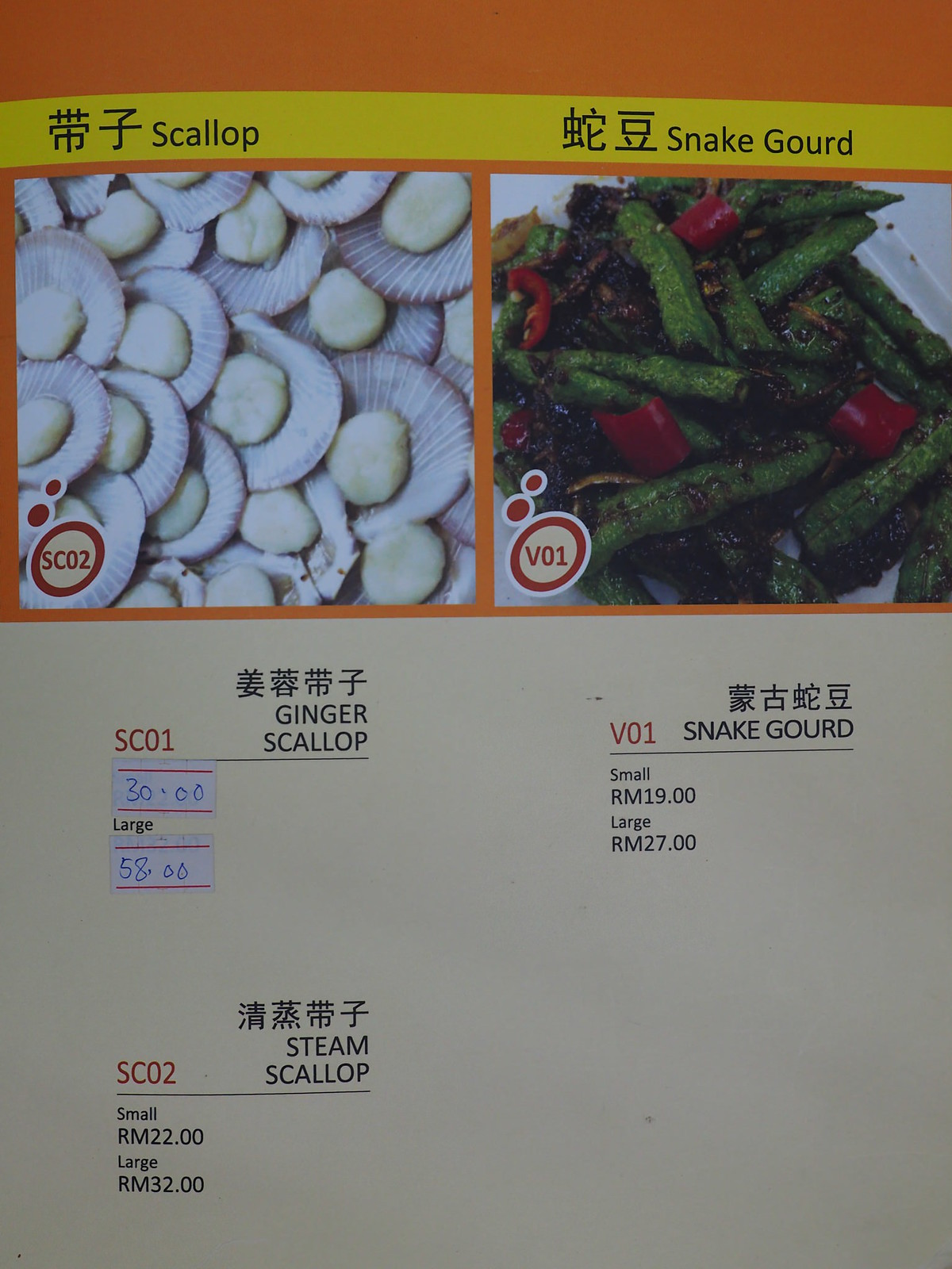 Scallop and snake gourd