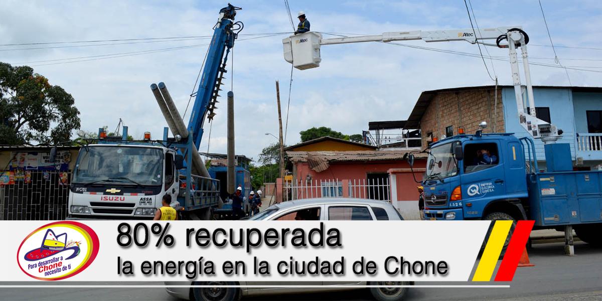 80% recuperada la energía en la ciudad de Chone