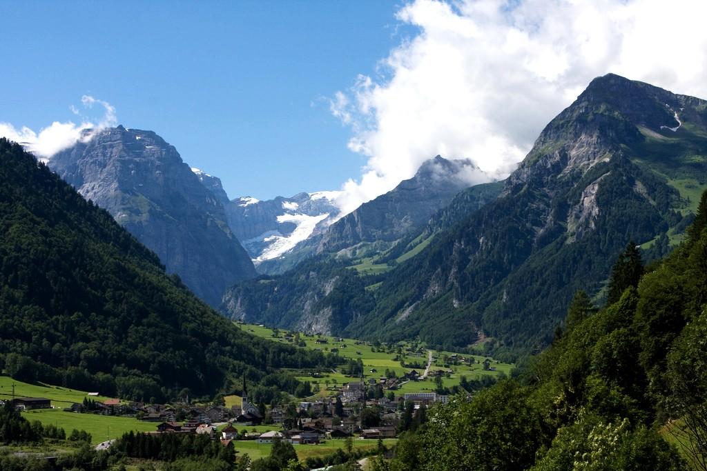 Linthal, canton of Glarus, Switzerland. The Biferten glacier left of Tödi (in the clouds) is visible. Photo taken on August 16, 2006.