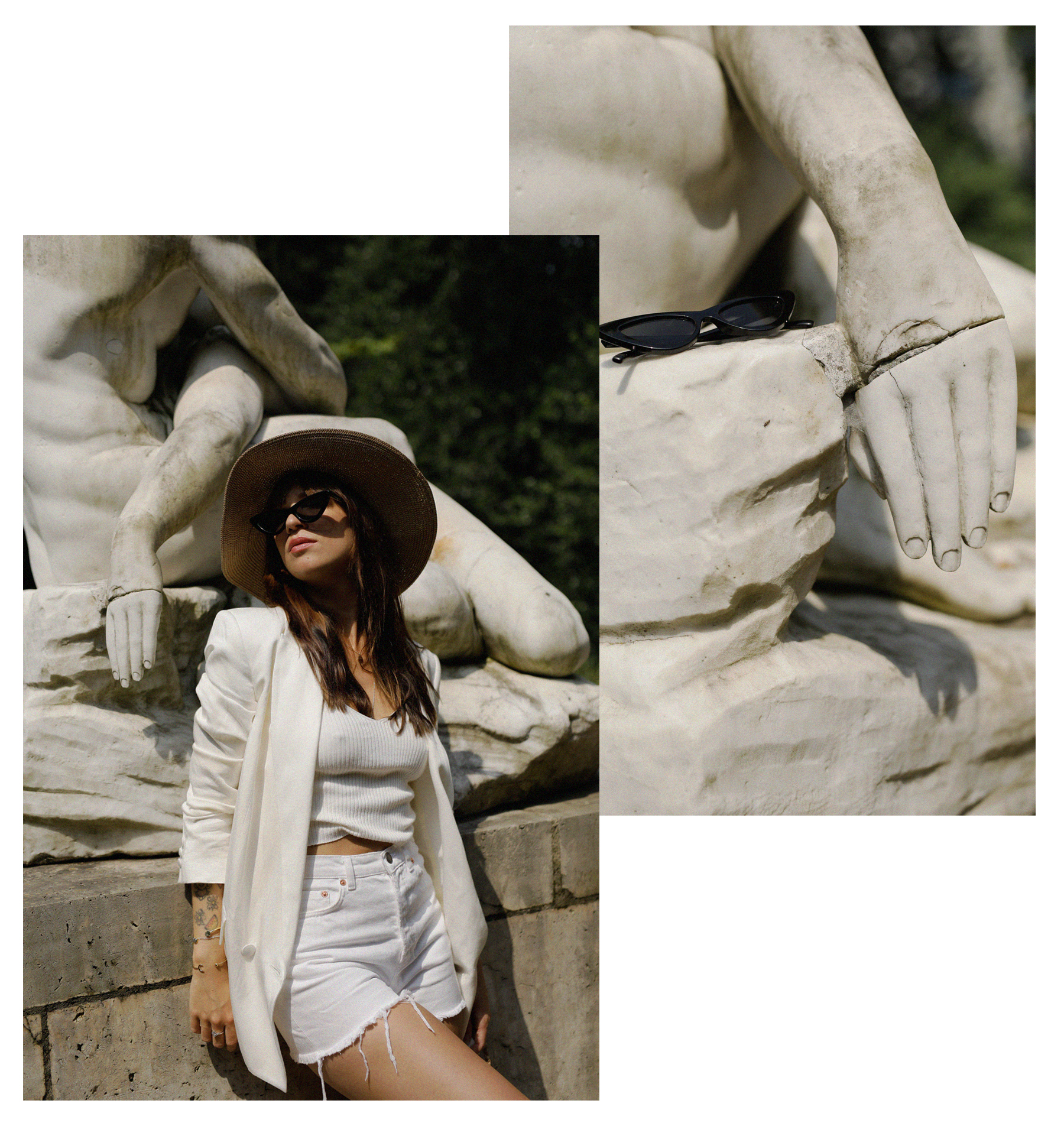 all white & other stories shorts blazer straw hat summer bag rouje hermes oran sandals statue marble dusseldorf düsseldorf dus art artist artsy fashionblogger modeblog jane birkin jeanne damas outfit mode inspiration look seventies ricarda schernus 6