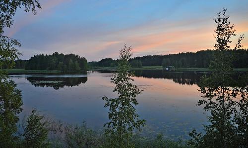 Night on the lake Päijänne. Time is 23:11. Sysmä, Finland. Summer. Midnight sun.