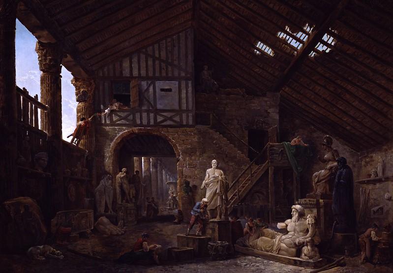 Hubert Robert - Studio of an Antiquities Restorer in Rome (1783)