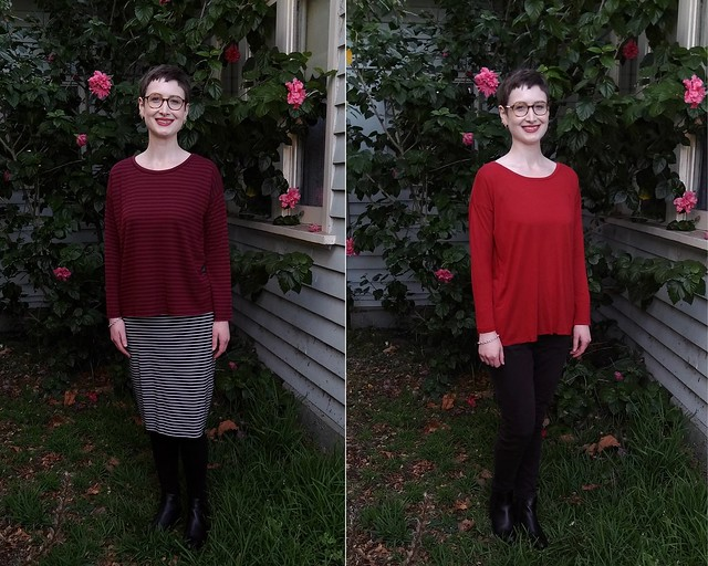 A woman stands in front of a hibiscus plant. In two different photos she wears two variations on the same knit tee, burgundy striped and plain red.