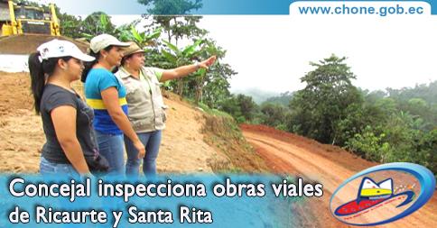 Concejal inspecciona obras viales de Ricaurte y Santa Rita