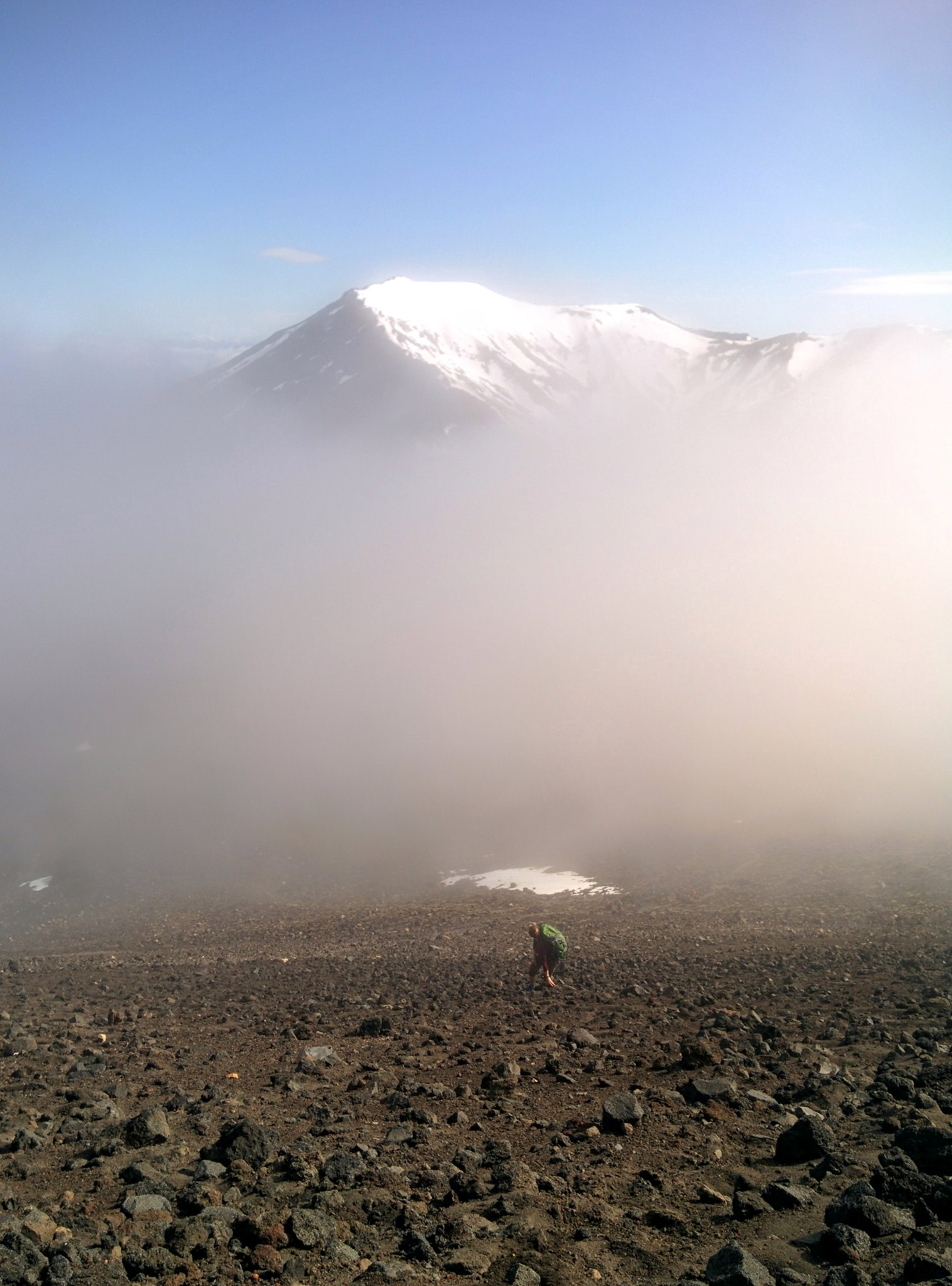The mist clears on the slopes of Mount Ngauruhoe