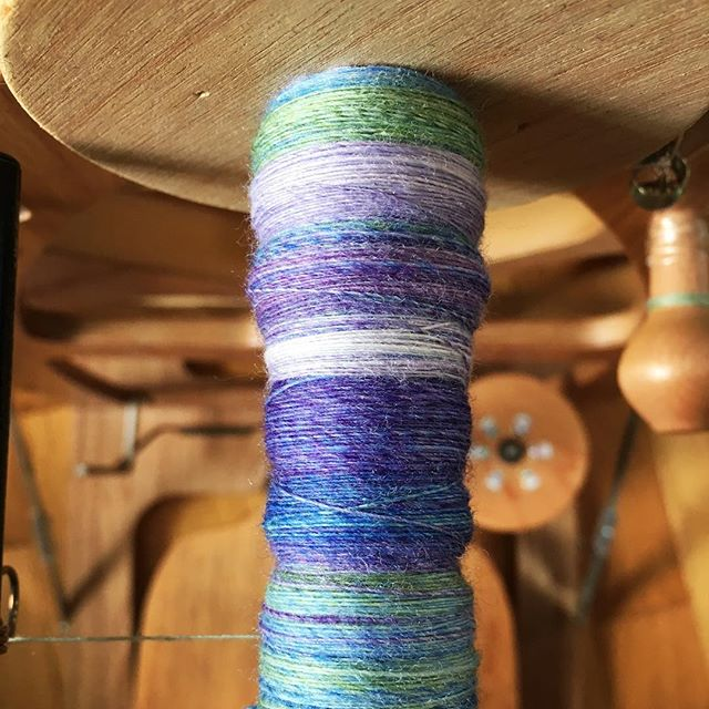 I am #spinning this so thin. The plan is to chain ply but it's going to take 10,000 hours to spin all four ounces. #tourdefleece #teamcatitude