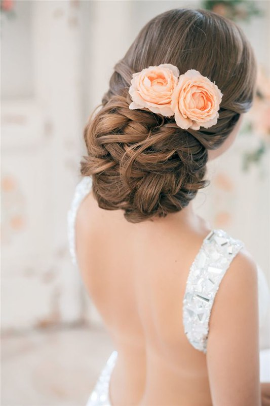 Wedding Hairstyles : messy low updo hairstyle with coral roses / www.deerpearlflow...