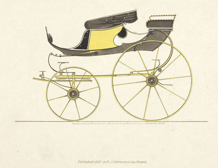 Hooper high flyer phaeton 1816 with a pair of outsized, swan-neck leaf springs at the rear and the body mounted daringly high.