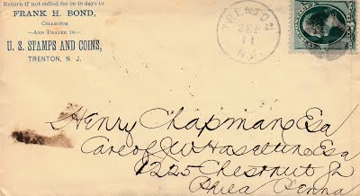 BOND, Frank H 9_11_1878 letter to Chapman
