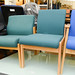 Beech fabric waiting room chair E45